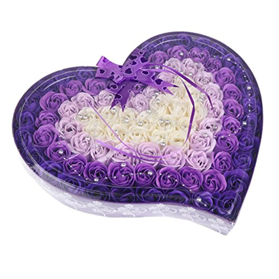拷問ロールちょっと待ってFenteer ソープフラワー  約100個 心の形 ギフトボックス 石鹸の花 誕生日  プレゼント 全4色選べる - 紫