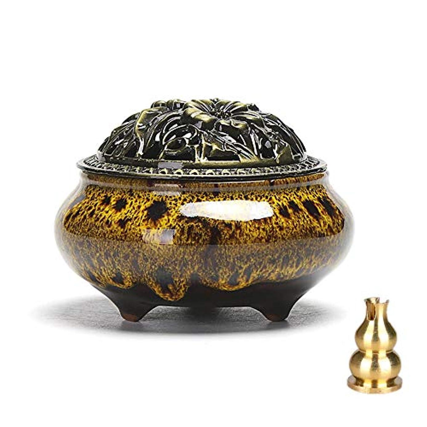 花輪豪華なケントZaoniy セラミック 家庭用 お香立て 耐火性 綿 磁器 お香立て 磁器 炭 香炉 樹脂 粒状 パウダー コーン コイル お香 用 イエロー