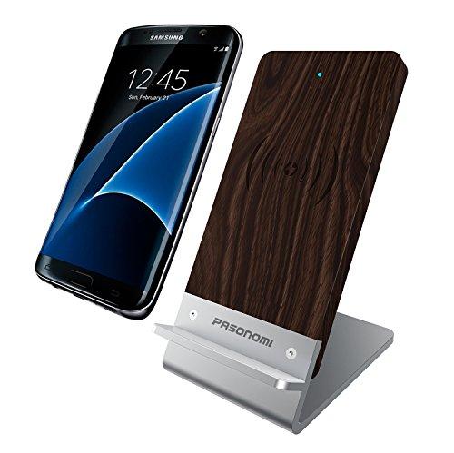 Pasonomi Qiワイヤレス充電器 スタンド型 3つのコイル 木製×アルミニウム材料 Samsung Galaxy S7/S7 Edge/S6/Edge, Note7, Note 5, Nexus 4/5/6/7 に対応Qi充電パッド 高速ワイヤレス充電