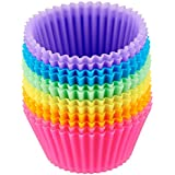 Silicone Cupcake Liners 2 ×2.75× 1.29 inches, Nonstick/Heat Resistant/Reusable Silicone Muffin Baking Cups Silicone Jelly Molds (12pack)