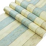 PEGAZOU(ペガ蔵) はがせる壁紙 壁紙シール 地中海風 アンティーク 木目 黄 & 青 45cm×10m DIY