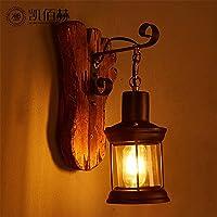 ブラケットライト ロフト木製ガラスランプ馬ランプノスタルジックレストラン拡散コーヒーリビングルーム寝室のベッドサイドウォールランプレトロ、15 * 36センチ