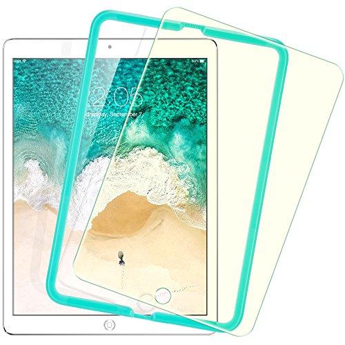 2018 / 2017 新型 ESR iPad Pro 9.7 / Air2 / Air / The New iPad 9.7インチ用 ブルーライトカット フィルム 日本旭硝子素材製 0.3mm 三倍強化 ガラス 液晶保護フィルム 貼り付け枠付き ライフタイム保証 硬度9H 気泡自動排除 スクラッチ 指紋防止