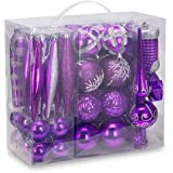 AUXO-FUN 54 Pieces Assorted Christmas Ornaments Tree Decoration Baubles in Gift Box (Purple, Gift Box)