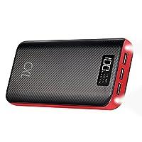 CXLiy モバイルバッテリー 大容量 24000mAh 携帯充電器 LCD残量表示 LEDライト付き 急速充電 出力(1A+2.1A+2.1A)と入力搭載 各種機種対応 海外旅行/出張/地震防災