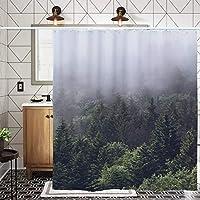 森の風景シャワーカーテン、自然のデザイン防水やカビ性布帛バスルームのカーテン、180 X 180 CM (Color : Forest3, Size : 185*185cm)