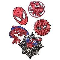 ノーブランド品 スパイダーマン ワッペン 5Pセット Spider Man キャラクター 赤