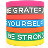 "Inspirational Silicone Wristbands by Solza | 7-Piece Set Rubber Band Bracelets, 7 Different Colors & Messages to Brighten Your Day | Adult Unisex Size, 8"" x 0.5"""