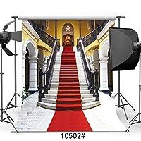 GooEoo 10 x 10フィート薄いビニールレッドカーペット結婚式の写真撮影の背景ゴールデンパレスの背景用フォトスタジオ10502