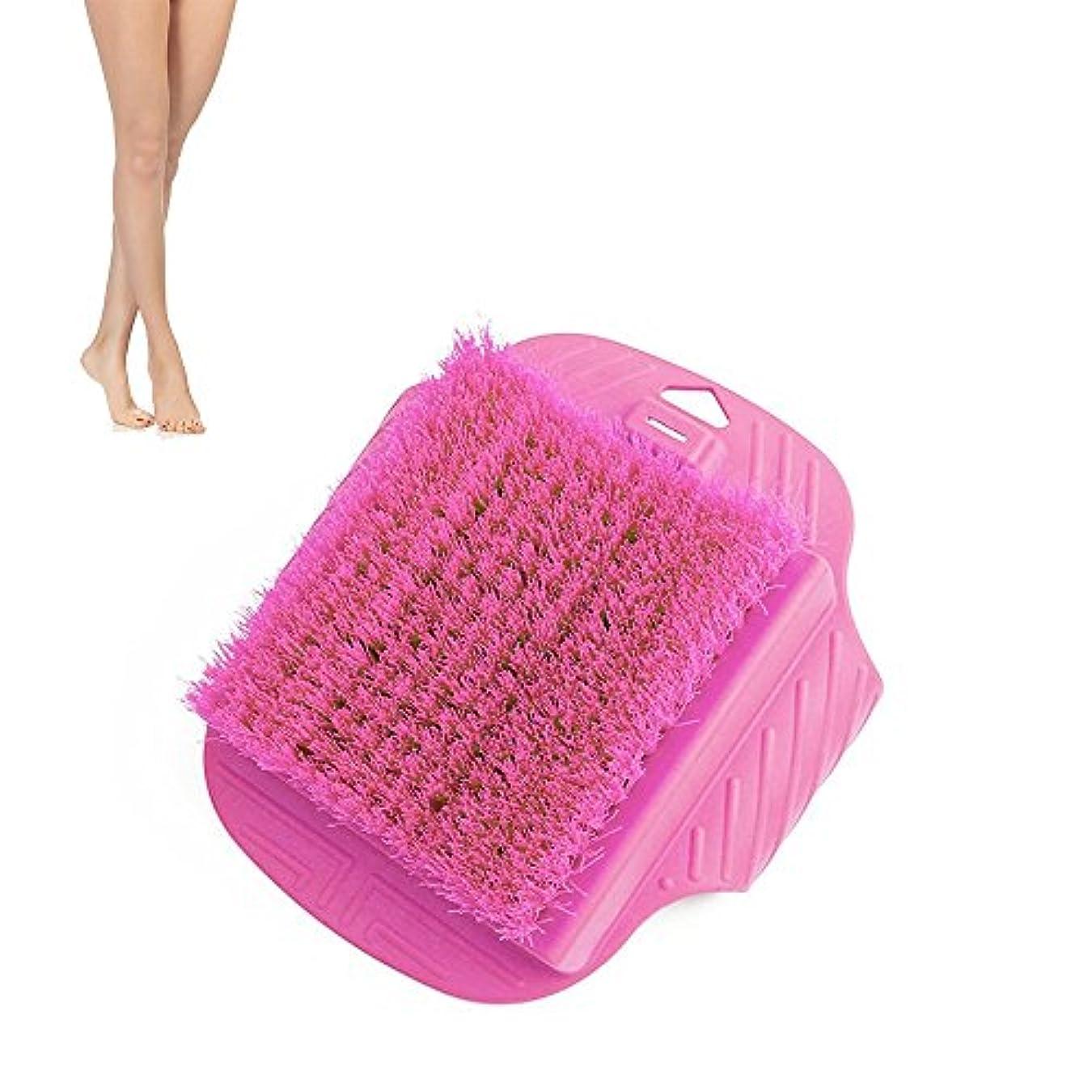 曇った博物館拘束する足ブラシ フットブラシ フットグルーマー スリッパ ブラシシャワースリッパ お風呂で使える角質ケアブラシ 足の匂い消し 健康グッズ (ピンク)