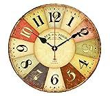 北欧風 アンティーク 木製 壁掛け 時計 インテリア ナチュラル レトロ 静音 30cm