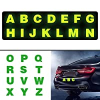 Maite レター形状 A-Z 反射安全警告テープ 反射シール ステッカー 高輝度 屋外の安全 反射ステッカ 適用車 バイク バックパック 洋服 ベビーカー (26枚)緑