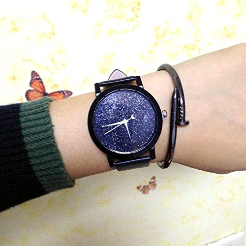 ZooooM 腕 時計 STAR GRACE ユニーク 星 空 宇宙 デザイン 文字盤 アナログ ウォッチ ファッション アクセサリー おもしろ カジュアル メンズ レディース 男性 女性 男 女 兼 用 ( ブラック ) ZM-WATCH2-765-BK