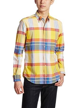 Big Madras Airy Buttondown Shirt 111-11-3701: Yellow
