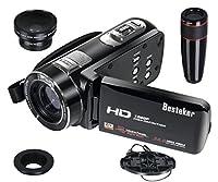 Besteker ポータブルビデオカメラ リモコンビデオ 2400万画素 HD1080P 16倍デジタルズーム ビデオカムコーダー 3.0インチ液晶タッチパネル HDMI出力 12倍高清望遠鏡カメラレンズ・広角レンズ・リモコン付き SDカード(最大64GB) 270度回転 日本語説明書&保証書付き(HDV-Z18)
