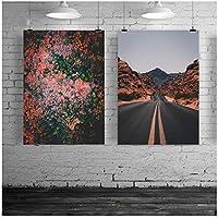 赤い森風景ポスターと版画壁アートプリントキャンバス絵画道路壁写真用リビングルームの装飾50 * 70センチフレームなし