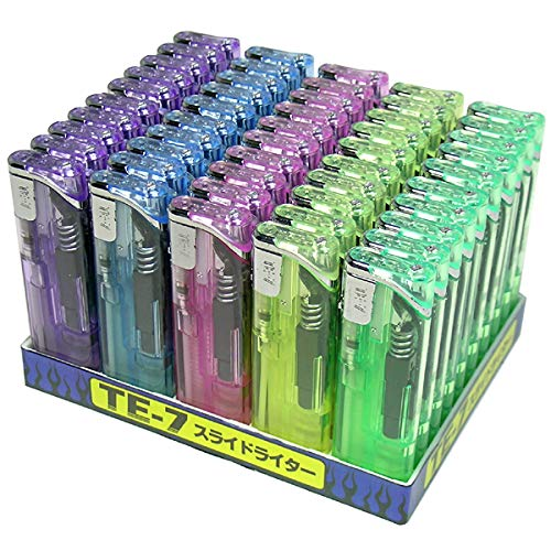 スライド電子ライター 50本セット 信頼の東京パイプ社製 ガスライター おしゃれ 使い捨てライター
