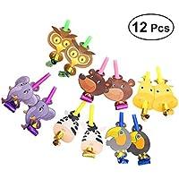 BESTOYARD ブローアウト漫画動物ホイッスル騒音メーカーおもちゃの新生児の誕生日パーティーは 12個