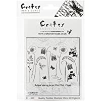 Crafty Individuals Unmounted Rubber Stamp, 4.75 by 7-Inch, Build a Spring Flower Garden by Crafty Individuals