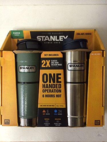 Stanley スタンレー Classic Vacuum Bottle ワンハンド真空マグ 473ml グリーンとシルバーのお得な2本セット ステンレス水筒 並行輸入品