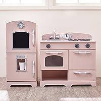 Teamson子供用 – レトロ木製再生キッチン冷蔵庫、冷凍庫、オーブン、食器洗い機 TD-11413P