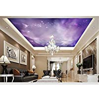 Ansyny 3D壁紙カスタム壁画美容不織布三次元紫天使星雲天頂壁画コンドルトップ天井壁紙-260X175CM