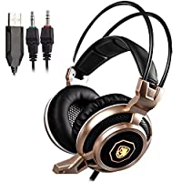 SADES Arcmage 3.5mm Stereo Gaming Headset with Mic Gold [並行輸入品]
