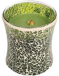 Woodwickエバーグリーン、Highly Scented Candleグリーンモザイク砂時計Jar、ミディアム、4インチ、9.7 Oz