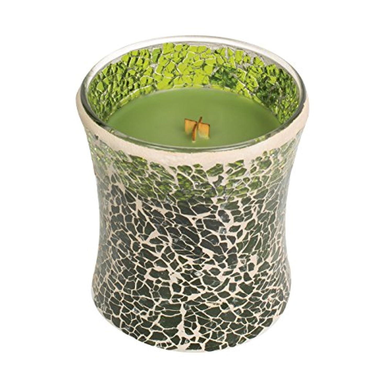 アルコールラッドヤードキップリング放置Woodwickエバーグリーン、Highly Scented Candleグリーンモザイク砂時計Jar、ミディアム、4インチ、9.7 Oz