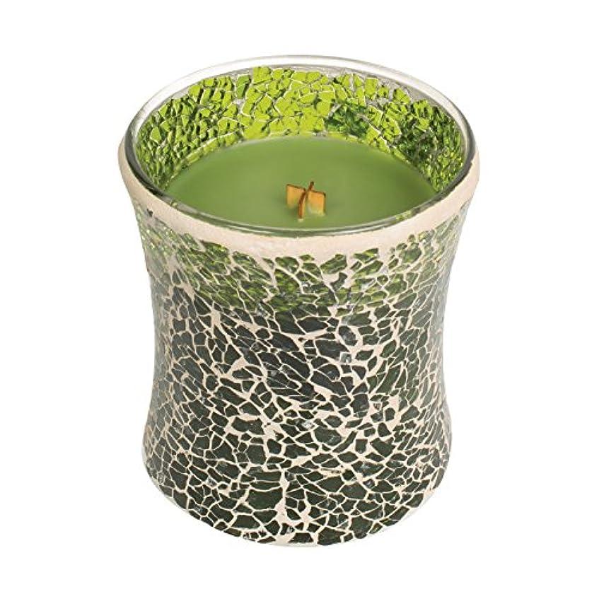 耐えられる飲み込むスイWoodwickエバーグリーン、Highly Scented Candleグリーンモザイク砂時計Jar、ミディアム、4インチ、9.7 Oz