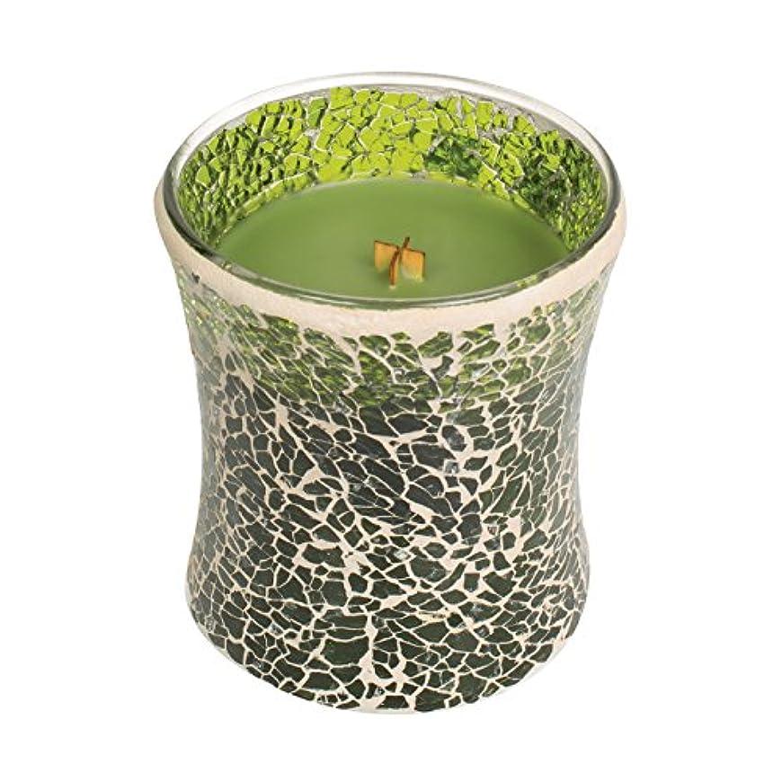 定数研磨剤変わるWoodwickエバーグリーン、Highly Scented Candleグリーンモザイク砂時計Jar、ミディアム、4インチ、9.7 Oz