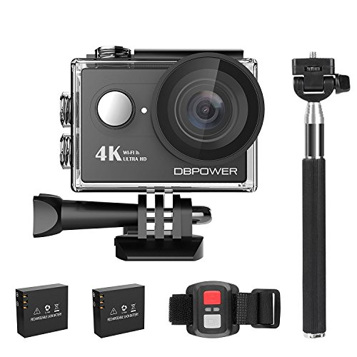DBPOWER 4K アクションカメラ 超高画質 170度広角レンズ 2インチ液晶画面 WiFi搭載 リモコン/自撮り棒付き 64GSDカード対応 二つ1050mAhバッテリー付属 ウェアラブルカメラ タイムラプス バイク/自転車/車などに取り付け可能 ドライブレコーダーとして使用可能 30m防水(ブラック)