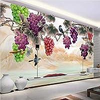 Lcymt カスタム3D壁壁画壁紙新しい中国風の手描きの紫色のブドウの花鳥アート壁の絵画リビングルームの寝室-280X200Cm