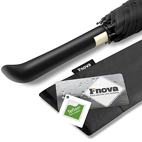 Fnova長傘 高強度グラスファイバー 超耐風撥水 大型軽量 自動開けステッキ傘 梅雨対策 紳士傘 ブラック 114センチ
