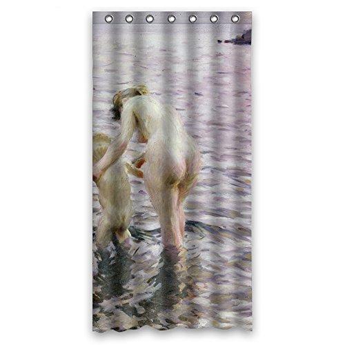 cosbudy Anders Zornアートペイント浴室カーテンポリエステルBest for Couples Boys彼彼女BF。すぐ乾き横幅X高さ/ 36x 72インチ/ W H 90by 180CM (ファブリック)