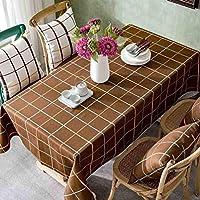 JJD ガーデンチェック柄防水テーブルクロスコットン/コーヒールームリビングルームコーヒーテーブルテーブルクロス長方形生地テーブルマット テーブルクロス (Color : 002, サイズ : 145*145cm)