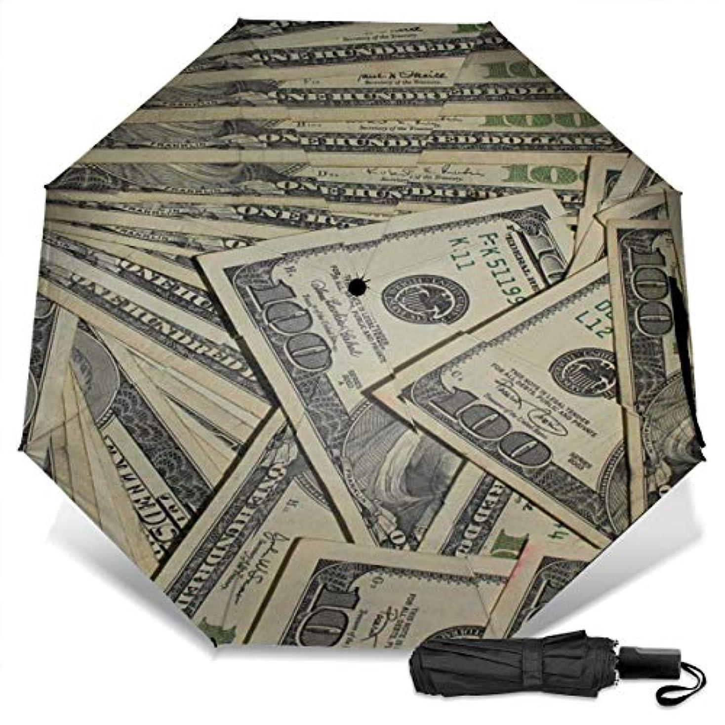 頭中ビーチ100ドル紙幣の米ドル通貨折りたたみ傘 軽量 手動三つ折り傘 日傘 耐風撥水 晴雨兼用 遮光遮熱 紫外線対策 携帯用かさ 出張旅行通勤 女性と男性用 (黒ゴム)