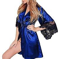 Guesthome au Women Lace Lingerie Belt Nightwear Sexy Bath Robe Silk Kimono Dressing(s-XXXL)