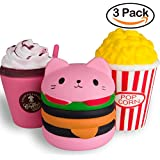 WATINC Kawaii Jumbo Hamburger&Popcorn Set Squishy Slow Rising Sweet Scented Vent Charms Kid Toy Hand Toy, Stress Relief Toy , decorative props Doll Gift Fun Large (pink ham&pop corn)
