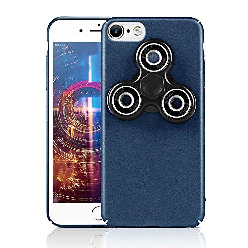 HAOCOOハンドスピナー iPhone 7 ケース Hand spinner iPhone Case 衝撃吸収バンパー 擦り傷防止 ストレス解消 アイフォン 7 用のハンドスピナーコンボケース (iPhone 7  4.7インチ, ブルー)