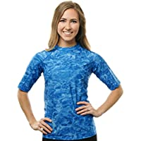 Aqua Design Women UPF 50+ Short Sleeve Comfort Fit Rash Guard Swim Surf Shirt