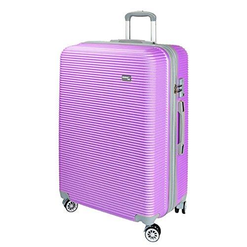 【神戸リベラル】 BAGING 軽量 拡張ファスナー付き S,M,Lサイズ スーツケース キャリーバッグ 8輪キャスター TSAロック付き (Sサイズ(1-3泊用 40/50L), パープル)