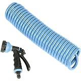セフティー3 コイルホース 7.5m ジェット シャワー 広角  6パターン切替 ブルー SCH-7.5