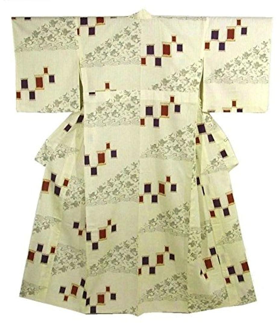 割り当てるハーネスオプショナルキモノッテ 着物 浴衣 Mサイズ 縞に魚 綿 裄67.4cm 身丈159cm