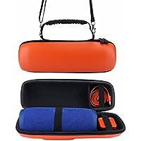 XBERSTAR JBL Charge 3 ケース カバー バッグ PU製 保護用 カラビナ付 ショルダーストラップ付 (オレンジ)