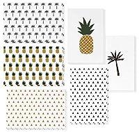 48枚パック あらゆる機会に使える無地ノートカード詰め合わせ グリーティングカードセット 箱入り デザイン6種 パイナップル ヤシの木 三角 内側は白紙 封筒付き 4 × 6インチ