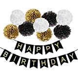 Black Happy Birthday Bunting Banner with Shimmering Gold Letters,25cm Tissue Paper Pom Poms for 21st 30th 40th 50th 60th 70th for birthday party