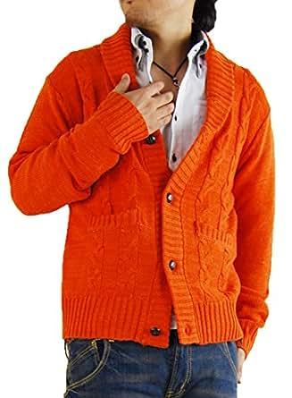 (アーケード) ARCADE 選べる驚異16パターン ケーブルニット カーディガン ショールカラー ドンキー衿 M オレンジ(ショール衿)