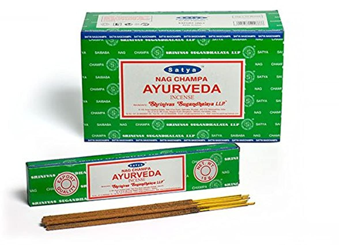 塊聞きますオーバーフローSatya Nag Champa Ayurveda お香スティック Agarbatti 180グラムボックス | 15グラム入り12パック