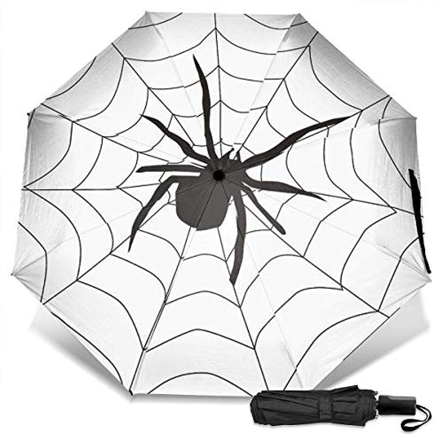 考え始まり仲間クモの巣ハロウィーン折りたたみ傘 軽量 手動三つ折り傘 日傘 耐風撥水 晴雨兼用 遮光遮熱 紫外線対策 携帯用かさ 出張旅行通勤 女性と男性用 (黒ゴム)